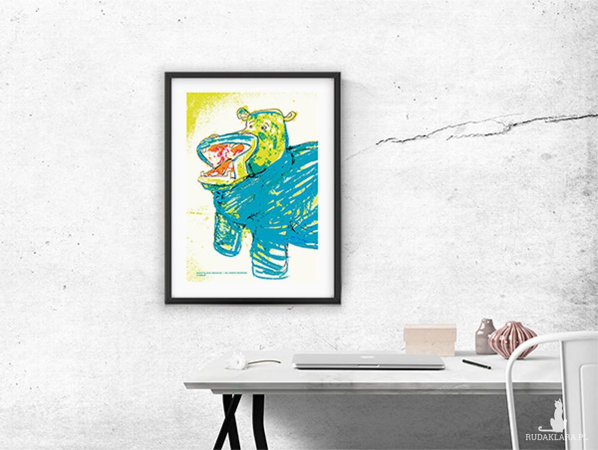 śmieszny plakat z hipopotamem, obrazek do pokoju chłopca, hipopotam grafika dla dzieci