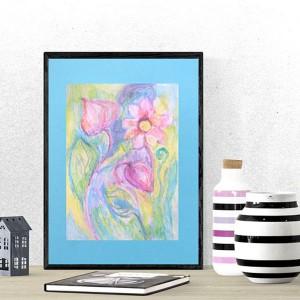 kolorowy rysunek z łąką, ręcznie malowany obraz  z kwiatami, rysunek kwiaty, kwiaty obrazek pastelowy, akwarela kwiaty