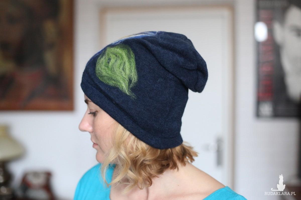 czapka wełniana damska granatowa
