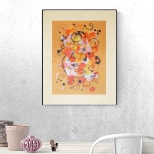 grafika w ciepłych kolorach, ładna abstrakcja do pokoju, abstrakcyjny rysunek na ścianę, dekoracja do loftu