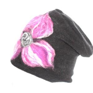 czapka czarna wełniana handmade