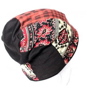 czapka patchworkowa cekinowa damska
