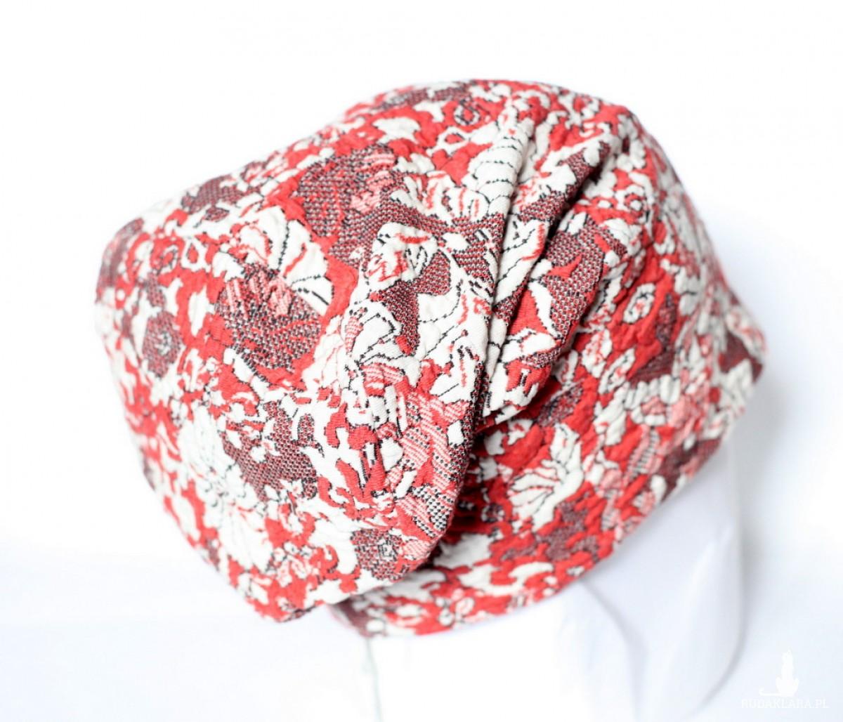 czapka dzianinowa boho etno kwiaty