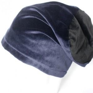 czapka aksamitna granatowo-czarna