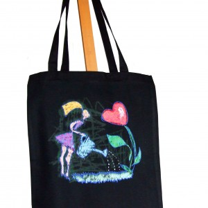 Bawełniana torba na zakupy z nadrukiem autorskiej grafiki Walentynkowej (Kopia)