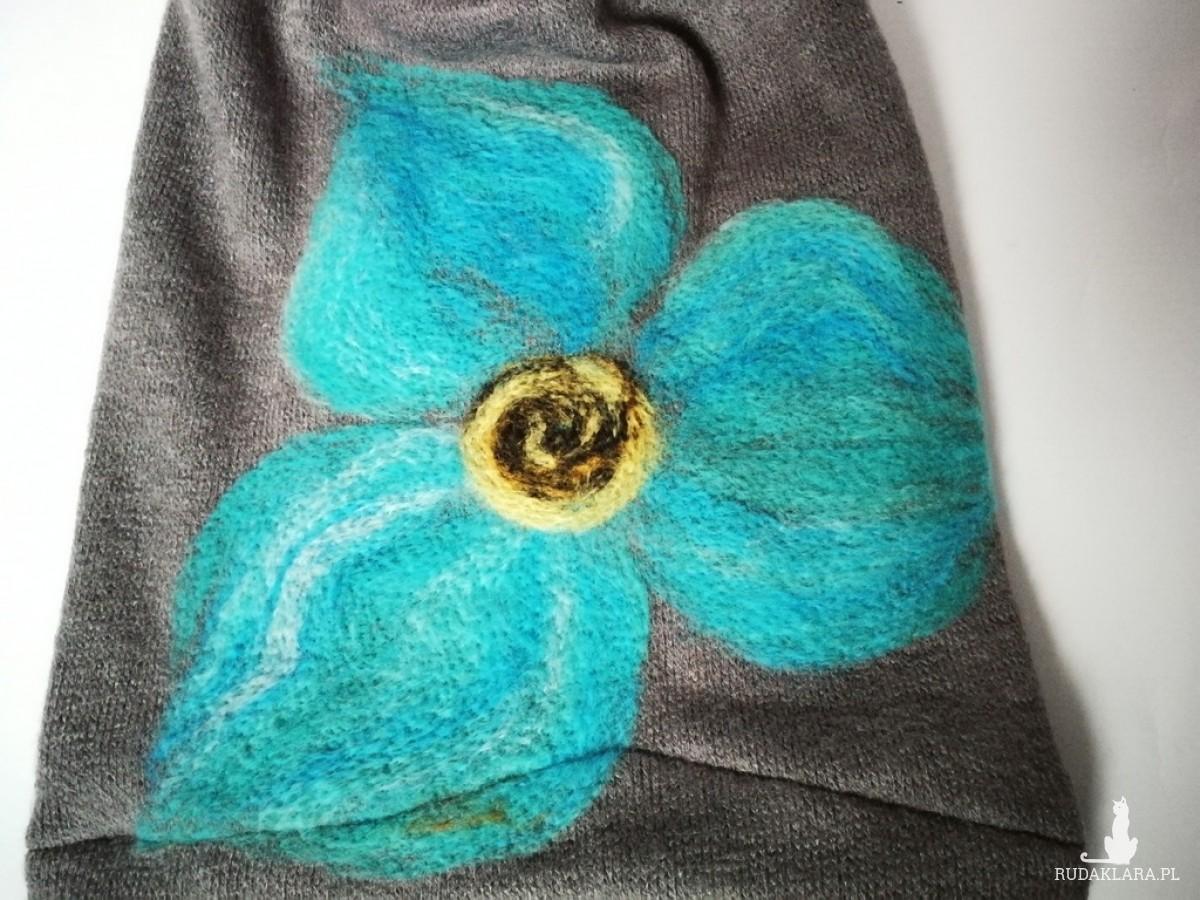 czapka szara wełniana handmade