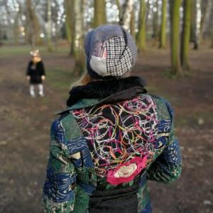 szara dzianinowa czapka damska patchwork