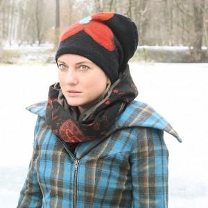 czapka handmade czesanką filcowane czapki wełniane
