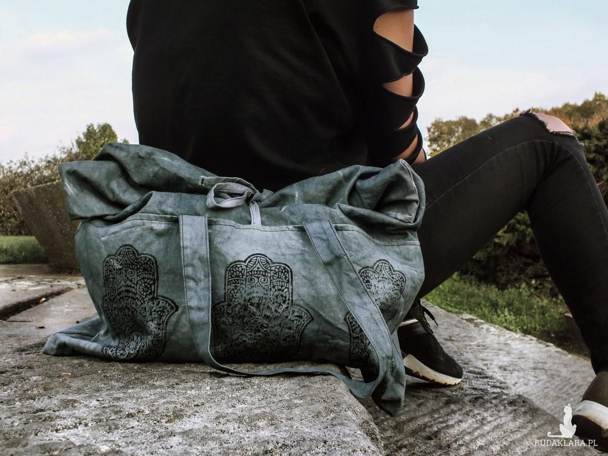 Bawełniana torba XXL z indyjskim wzorem Hamsa