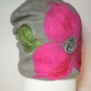 czapka wełniana damska szara