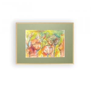 kwiaty akwarela w ramce, obraz z kwiatami, obraz malowany ręcznie, łąka obraz, łąka akwarela oprawiona