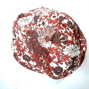 czapka dzianinowa damska miękka dresowa w kwiaty