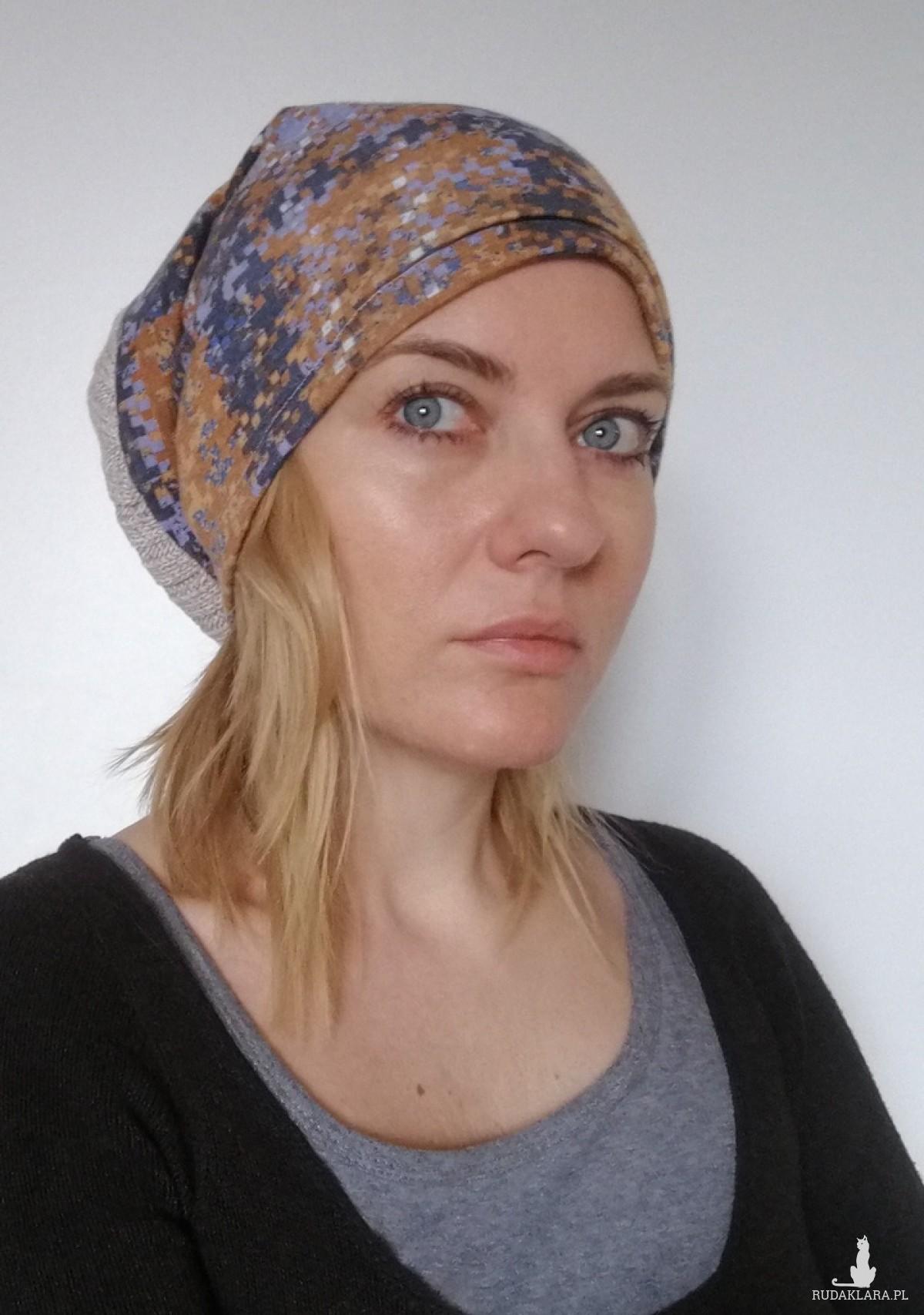 czapka jesienna wzory wełna dzianina damska męska