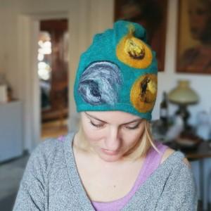 czapka wełniana damska turkus z kwiatem