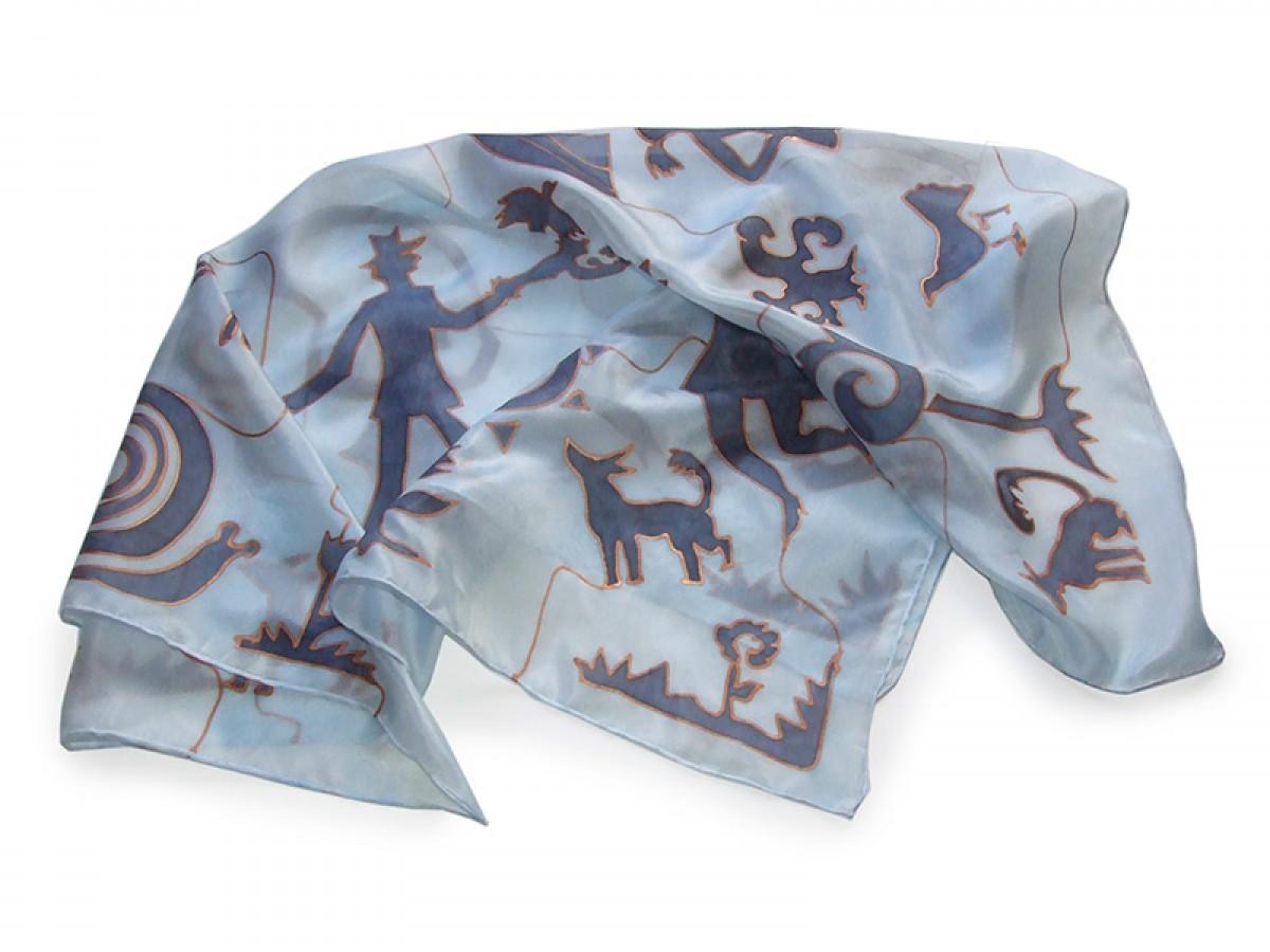 Ręcznie malowana apaszka jedwabna Sylwetki