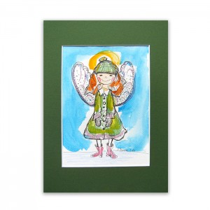 aniołek obraz malowany ręcznie, akwarela z aniołkiem, ładny rysunek z aniołkiem
