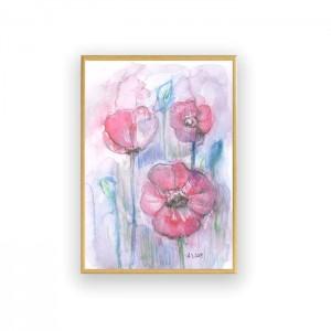 oprawiony obraz  z łąką, ładna akwarela, malowany ręcznie obrazek z kwiatami