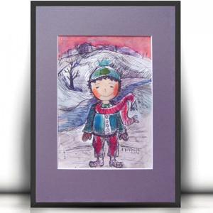 chłopczyk rysunek, obrazek dla chłopca, obraz z chłopcem, chłopczyk akwarela, malowny ręcznie obraz z chłopczykiem