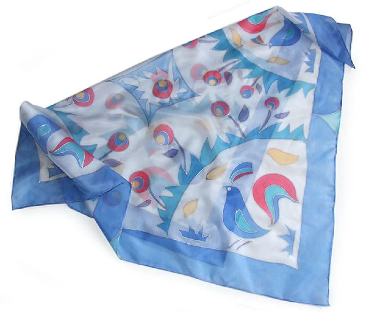 Jedwabna malowana apaszka Niebieskie kogutki