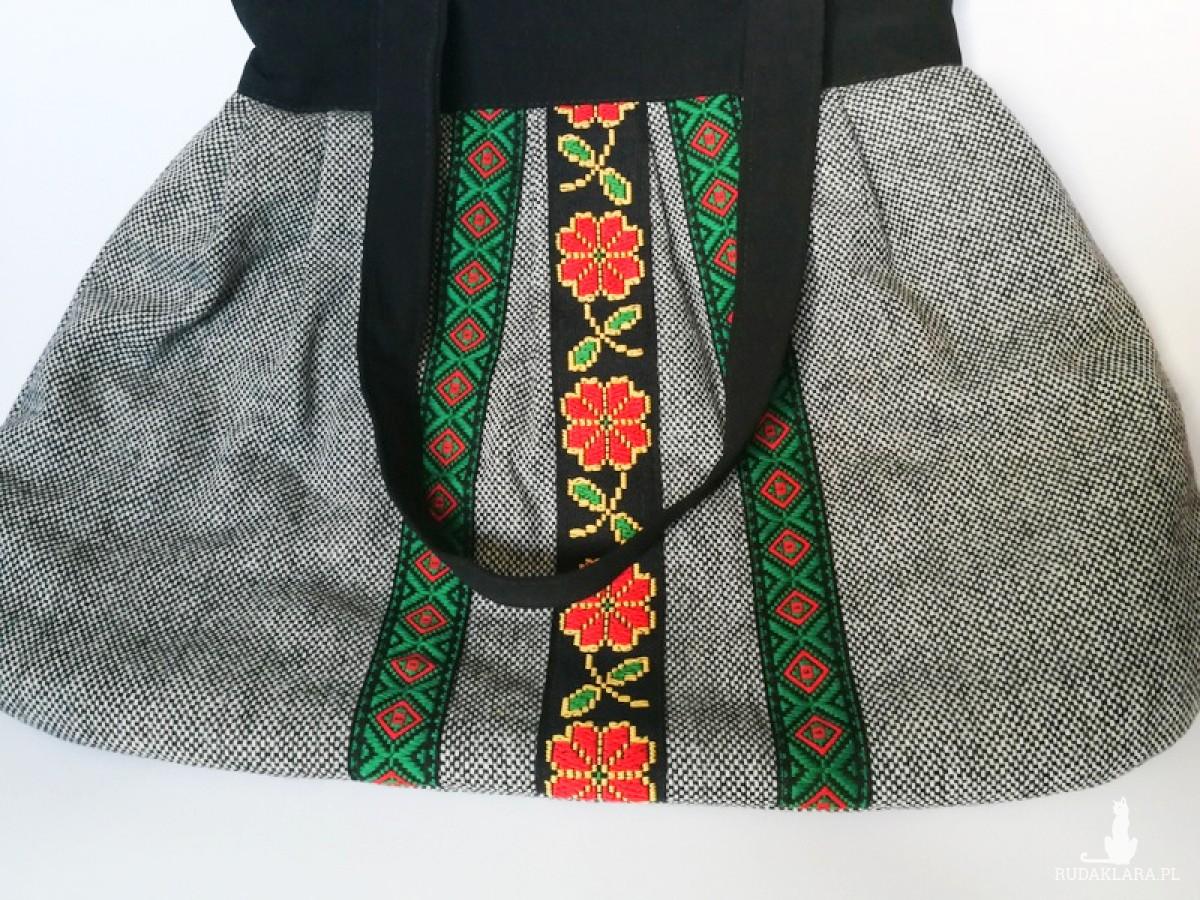 duża ludowa torba tasiemki haftowana