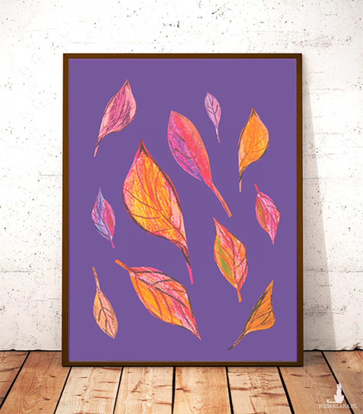 30 x 40  plakat jesień, ładny plakat liście, kolorowa grafika na ścianę, jesień grafika do pokoju, jesienny obraz do domu