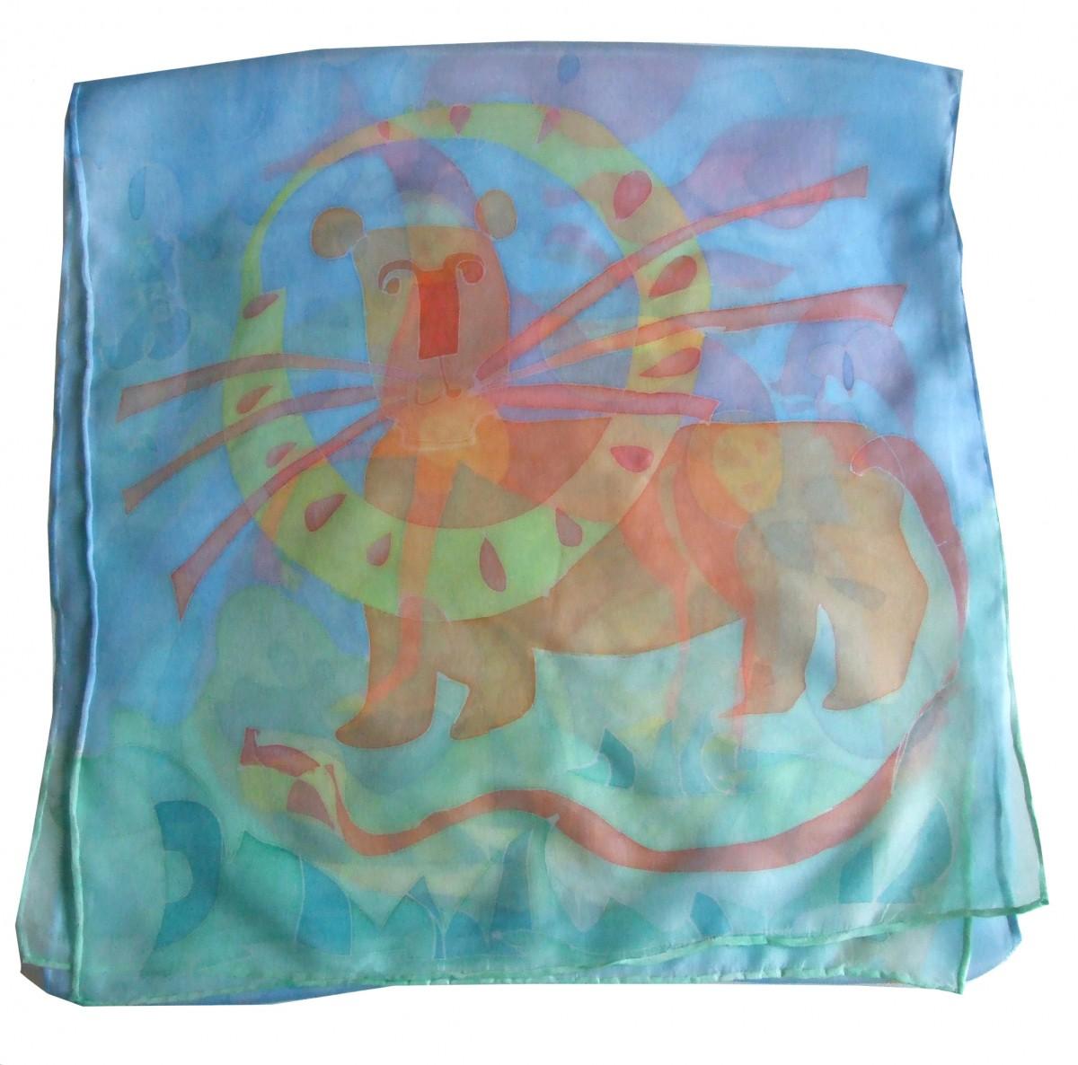 Jedwabny malowany Szal Baśniowy Koń i Lew