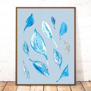 30x40 grafika liście, nowoczesny plakat, plakat skandynawski styl,.liście obraz na ścianę, liście plakat do pokoju, ładna grafika do sypialni