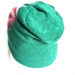 czapka wełniana filcowana kwiaty folk turkus