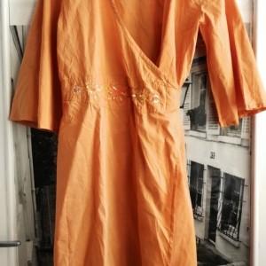 sukienka indyjska kopertówka haftowana pomaranczow