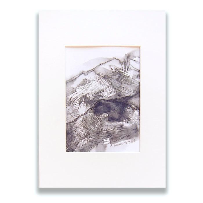 biało czarny obraz z górami, rysunek z krajobrazem górskim, nowoczesna grafika do salonu, skandynawski obraz