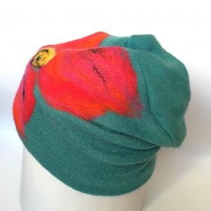czapka wełniana damska turkus/zieleń z kwiatem