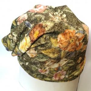 czapka materiałowa wzorzysta wiosna jesień