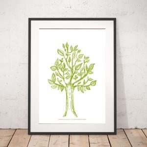 30x40 plakat drzewo, ładna grafika z drzewem, botaniczny plakat na ścianę, drzewo obraz  do jadalni
