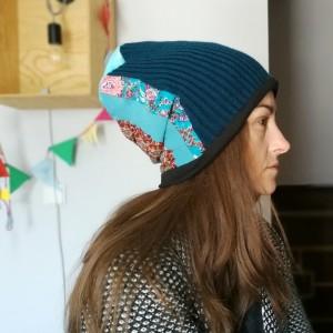 czapka patchworkowa niebieska orient etno