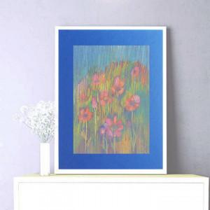 łąka rysunek, obraz z łąką, szkic kwiaty, kolorowy rysunek z kwiatami, kwiaty szkic do salonu, łąka obraz do sypialni