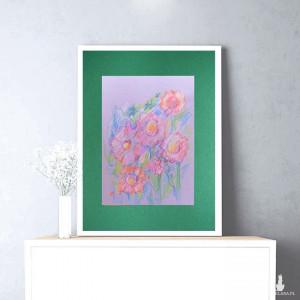 obraz z kwiatami, kolorowy rysunek do salonu, ładny szkic kwiatów, rysunek kwiaty, łąka obraz