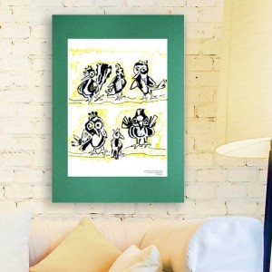 nowoczesny plakat z ptakami, ładny obrazek z ptaszkami, grafika w skandynawsikm stylu, ptaszki obrazek na ścianę