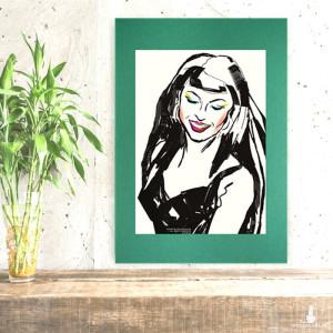 nowoczesny plakat z dziewczyną, pop art grafika na ścianę, obraz do loftu, minimalizm dekoracja do pokoju