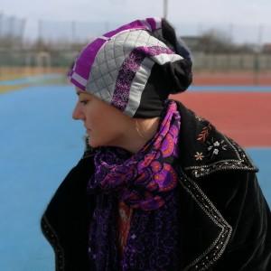 czapka patchworkowa fioletowa orient etno