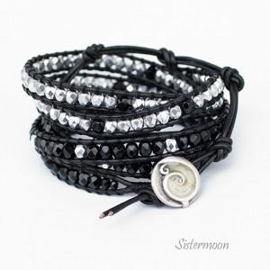 Black and Silver Bransoleta boho w stylu Chan Luu