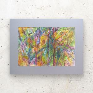 kolorowy obraz do salonu, ładny rysunek z pejzażem, malowany ręcznie obraz
