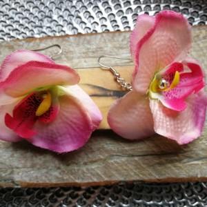 kolczyki kwiaty etno storczyki lekkie