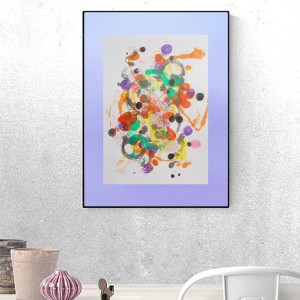 kolorowa grafika do loftu, ładna abstrakcja, nowoczesna dekoracja,  abstrakcyjny rysunek do pokoju