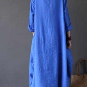sukienka oversize bawełna z lnem