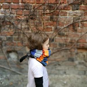 komin dziecięcy kolorowy dzianinowy patchworkowy