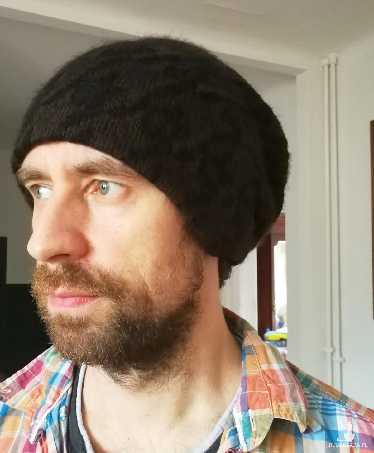 czapka unisex wełna brąz czarny wzór męska damska