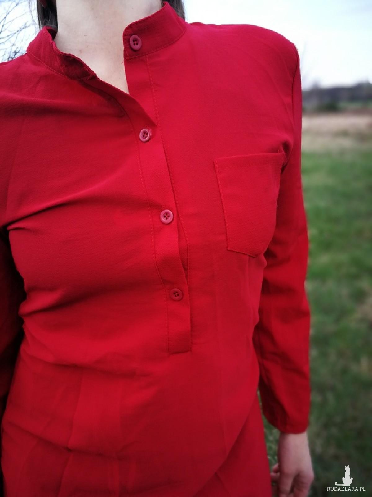 szmizjerka letnia długa sukienka czerwona żorżeta