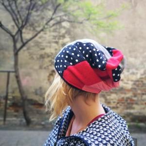 patchworkowa kolorowa damska czapka etno grochy