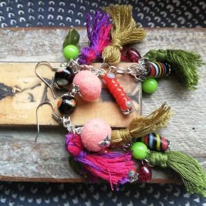 kolczyki pompony etno boho