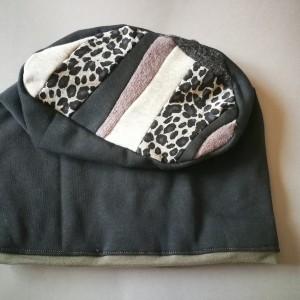 czapka damska dzianina patchwork